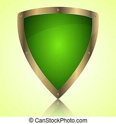 simbolo, verde, scudo, trionfo, icona