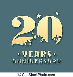 simbolo, vettore, 20, logotipo, icona, anniversario, anni