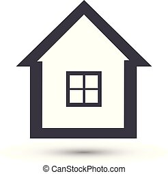 simbolo, vettore, casa casa, icon., linea