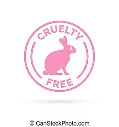 simbolo, vettore, coniglio, libero, disegno, crudeltà, rosa, icona, coniglietto