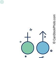 simbolo, vettore, disegno, femmina, maschio, icona