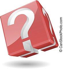 simbolo, vettore, domanda, 3d, marchio