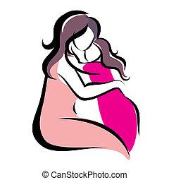 simbolo, vettore, figlia, madre