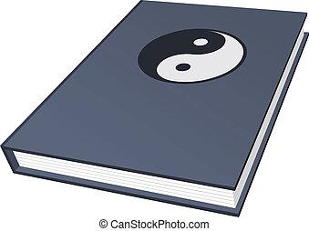 simbolo, vettore, libro, ying-yang