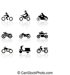 simbolo, vettore, motocicletta, set.