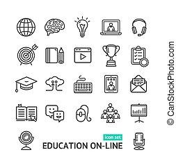 simbolo, vettore, nero, magro, linea, linea, educazione, set., icona