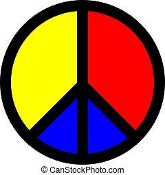 simbolo, vettore, pace, colorito, icona