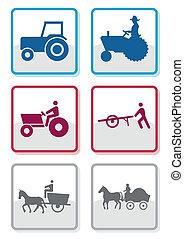 simbolo, vettore, set., contadino