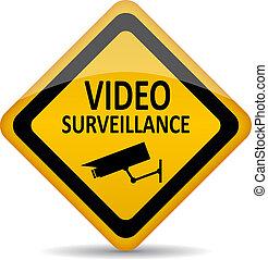 simbolo, vettore, sorveglianza video