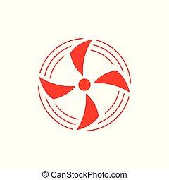 simbolo, vettore, ventilatore, cerchio, rotazione, movimento