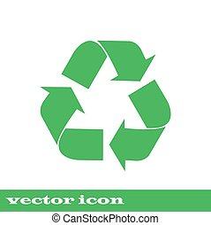 simbolo., vettore, verde, riciclare, icon., icona