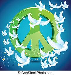 simbolo, volare, colomba, intorno, pace