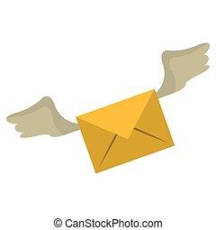simbolo, volare, email, ali