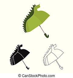 simbolo, web., collezione, vettore, disegno, monsone, parasole, logo., bambini, casato