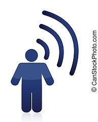 simbolo, wifi, collegamento, uomo