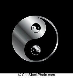 simbolo, yang ying, balance-, armonia, male, buono