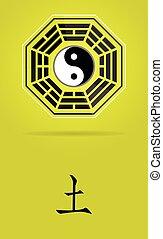 simbolo, yin, bagua, yang, terra, element.