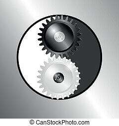 simbolo, yin, metallo, yang., pinions., fondo