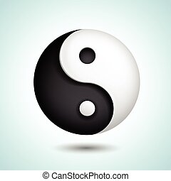 simbolo, yin, vettore, yang, armonia, icona