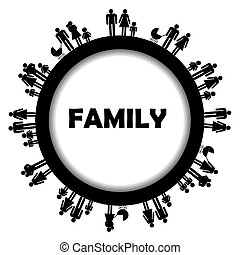 simbols, フレーム, ラウンド, 家族