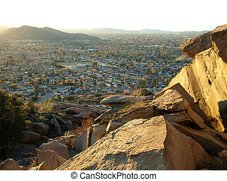 Afternoon view of rock formations and suburban Simi Valley California.