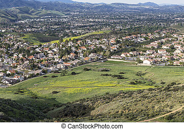 Spring green view of suburban Simi Valley near Los Angeles in Southern California.