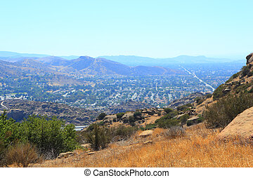 West overlook of Simi Valley from Rocky Peak Trail, Santa Susana Mountains, CA (backlit)