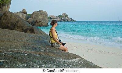 similan, praia., turista, sentando, tailandia, ilhas
