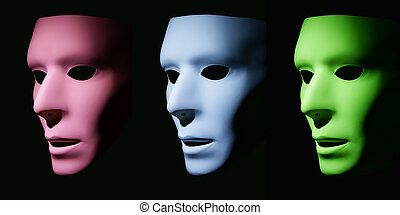 Similar Directions - A pink, blue and green mask all facing...