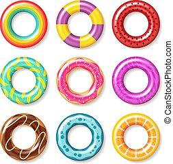 simma, sommar skämtar, livräddare, färgrik, flotte, kollektion, rings., realistisk, vektor, toys, inflatables, ringa, boj, strand, barn, slå samman, simning