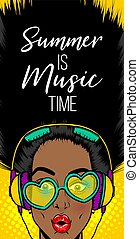 Simmer misuc banner woman disco pop at - Black woman in...