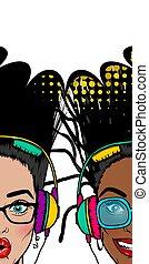 Simmer misuc banner woman disco pop at