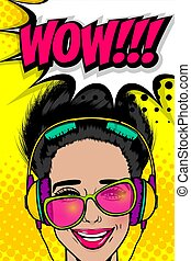 Simmer misuc banner woman disco pop at - Woman in sunglasses...