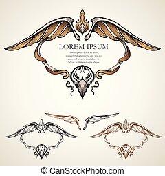 simmetria, antico, cornice, ala