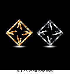 simmetrico, logotipo, quadrato, affari