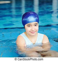 simning, flicka, litet, tid, slå samman, sommar, blå, nöje, söt, vatten