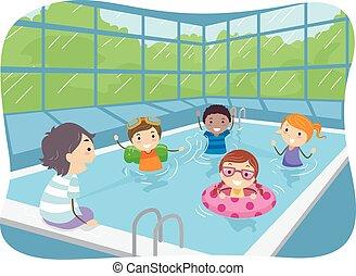 simning, inomhus, stickman, slå samman, lurar