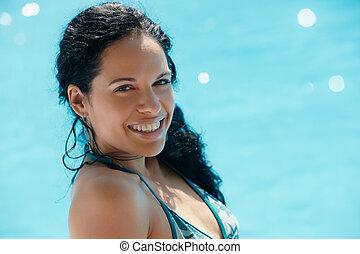 simning, kvinna, ung, slå samman, sittande