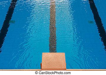 simning, startknapp, plattform, peka