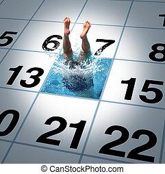 simning, tid