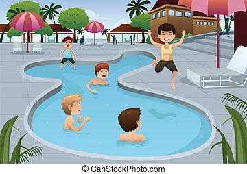 simning, utomhus, spelande damm, lurar