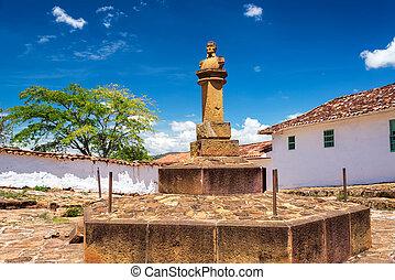 Simon Bolivar Bust in Barichara - Bust of Simon Bolivar in...