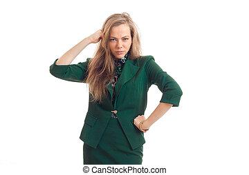 simpático, youn, mujer de negocios, en, uniforme verde, posar, en, cámara