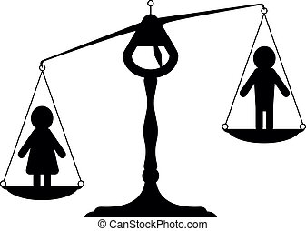 gender equality - simpe illustration of a balance with man...
