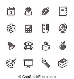 simple, école, dos, icônes