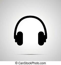 simple, écouteurs, noir, silhouette, icône