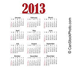 Simple 2013 year calendar, vector illustration.