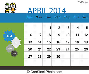 Simple 2014 calendar, April. Vector illustration.