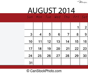 Simple 2014 calendar, August. Vector illustration.