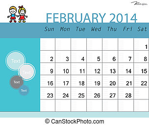 Simple 2014 calendar, February. Vector illustration.